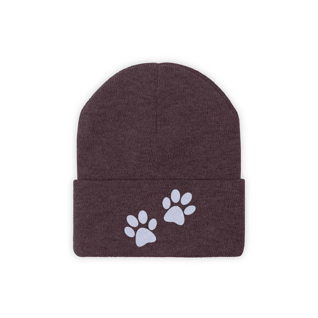Paw Prints Knit Beanie-Apparel-Maroon-Woofingtons