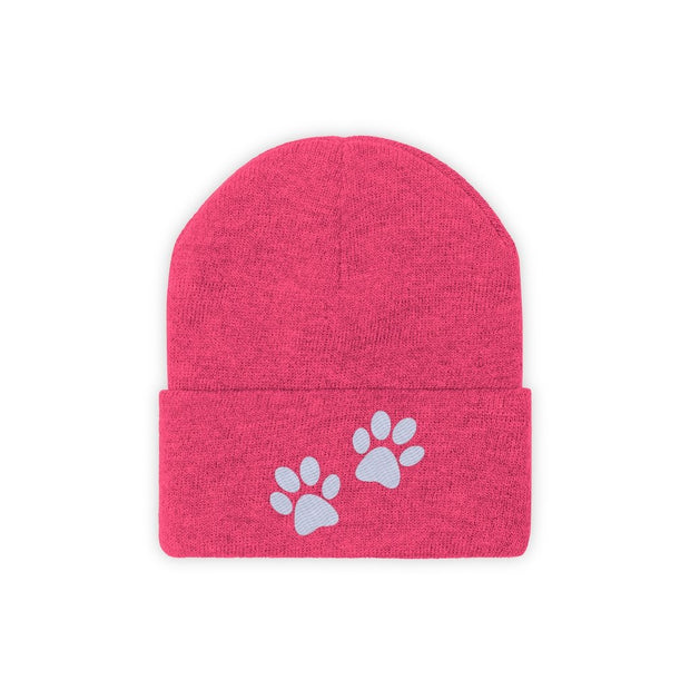 Paw Prints Knit Beanie-Apparel-Neon Pink-Woofingtons