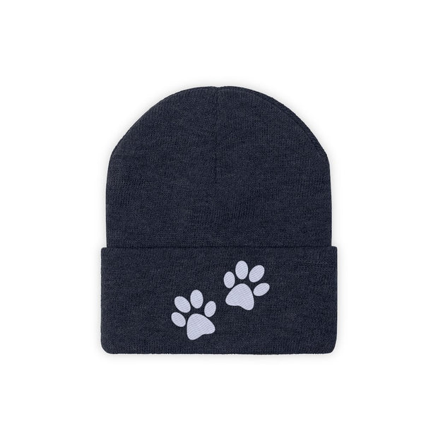 Paw Prints Knit Beanie-Apparel-True Navy-Woofingtons