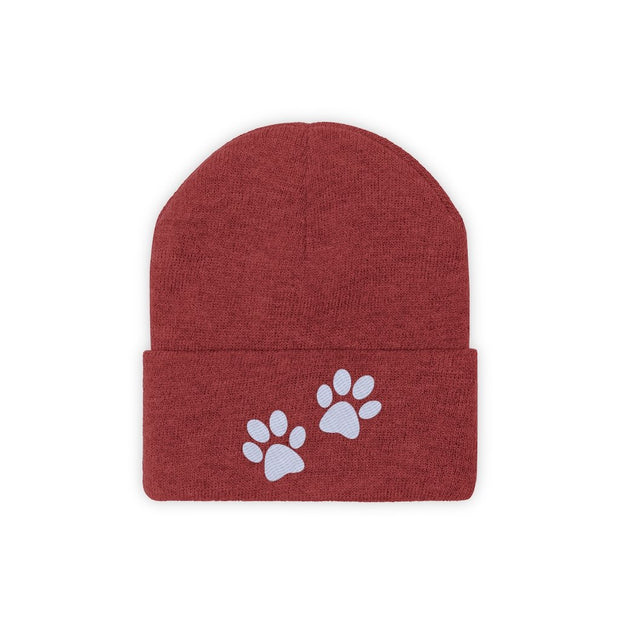 Paw Prints Knit Beanie-Apparel-True Red-Woofingtons