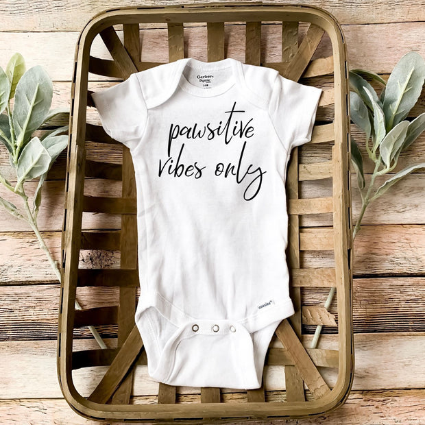 Pawsitive Vibes Only Baby Onesie White Woofingtons