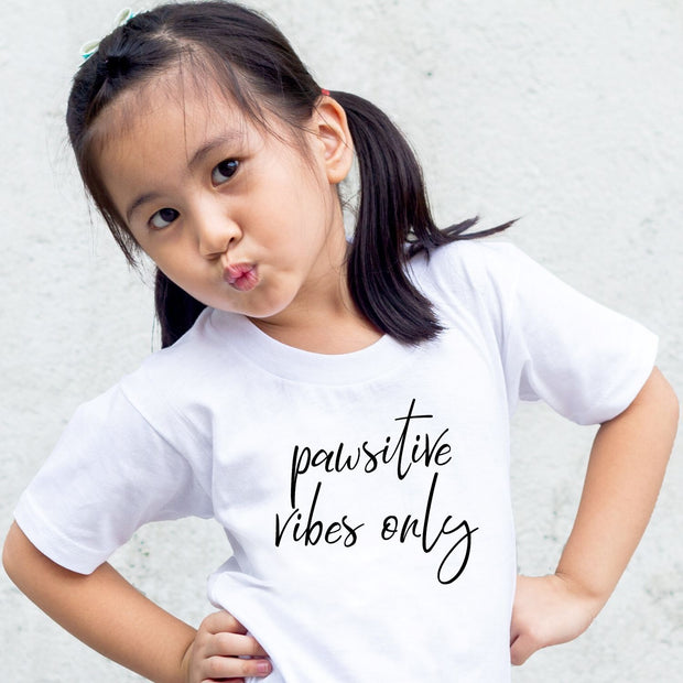 Pawsitive Vibes Only Toddler Tee White Woofingtons