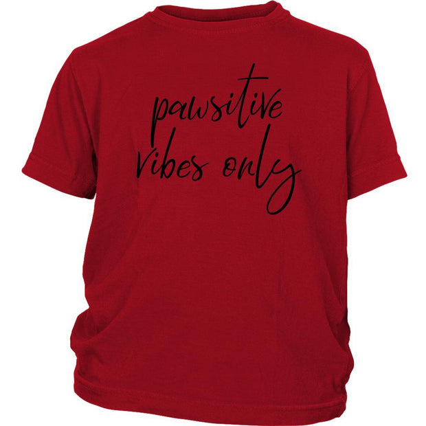 Pawsitive Vibes Only Kids Tee-Red-Woofingtons