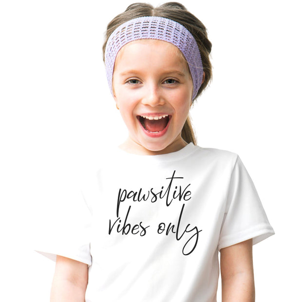 Pawsitive Vibes Only Youth Tee White Woofingtons
