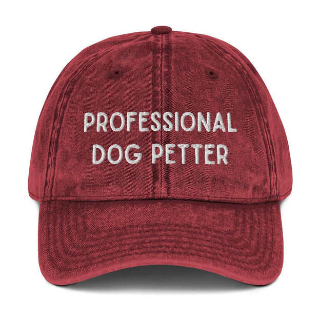 Professional Dog Petter Vintage Cotton Twill Cap-Apparel-Maroon-Woofingtons