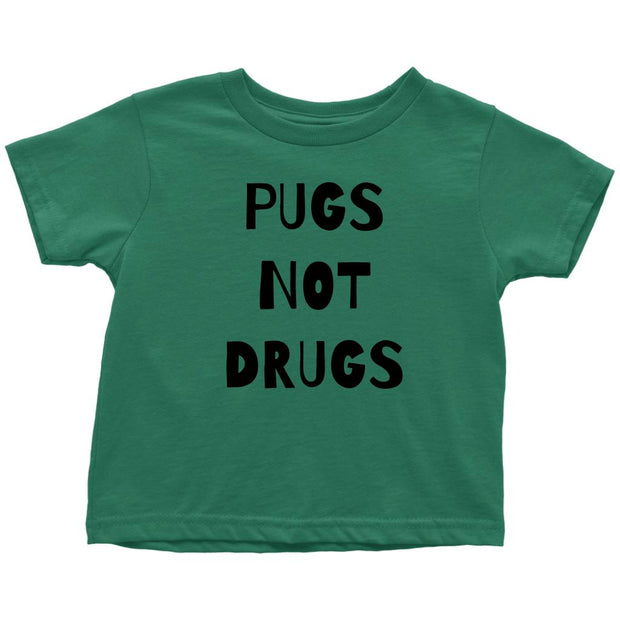 Pugs Not Drugs Toddler Tees-Kelly-Woofingtons