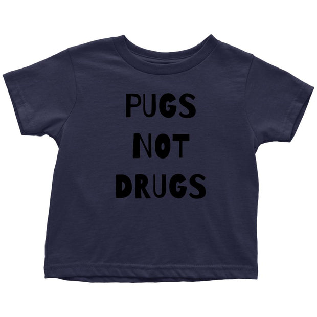Pugs Not Drugs Toddler Tees-Navy Blue-Woofingtons