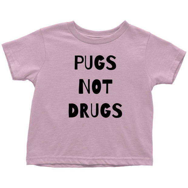 Pugs Not Drugs Toddler Tees-Pink-Woofingtons