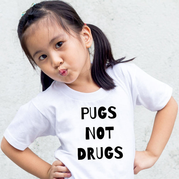 Pugs Not Drugs Toddler Tees White Woofingtons