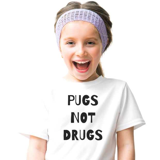 Pugs Not Drugs Youth Tee White Woofingtons