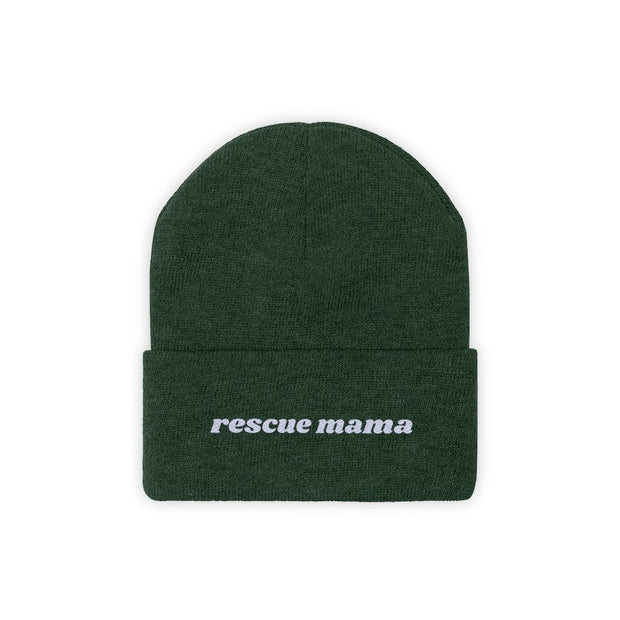 Rescue Mama Knit Beanie-Apparel-Forest Green-Woofingtons