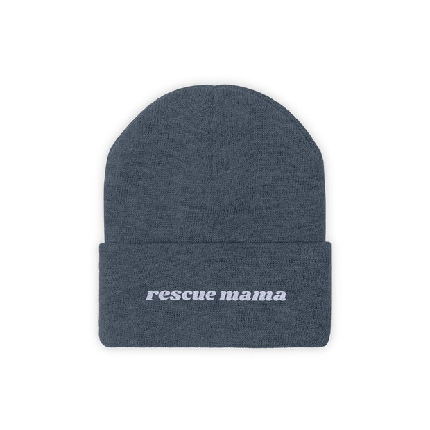 Rescue Mama Knit Beanie-Apparel-Millennium Blue-Woofingtons