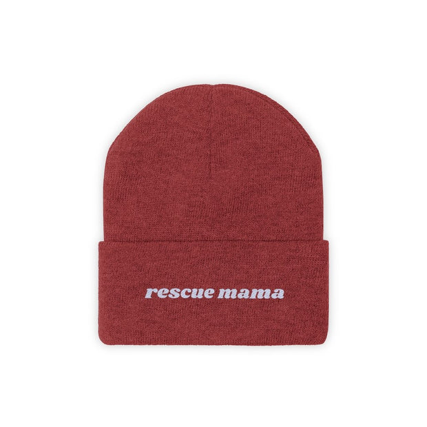 Rescue Mama Knit Beanie-Apparel-True Red-Woofingtons