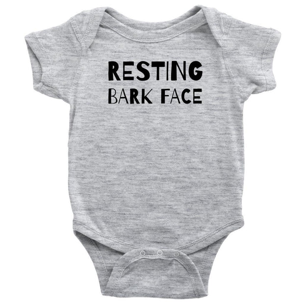 Resting Bark Face Baby Onesie-Heather Grey-Woofingtons