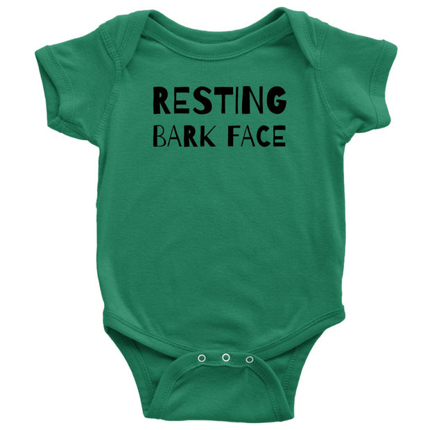 Resting Bark Face Baby Onesie-Kelly-Woofingtons