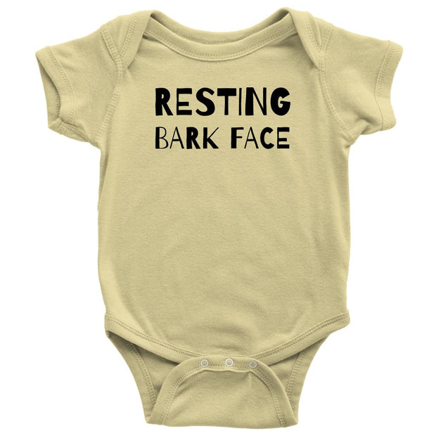 Resting Bark Face Baby Onesie-Lemon-Woofingtons