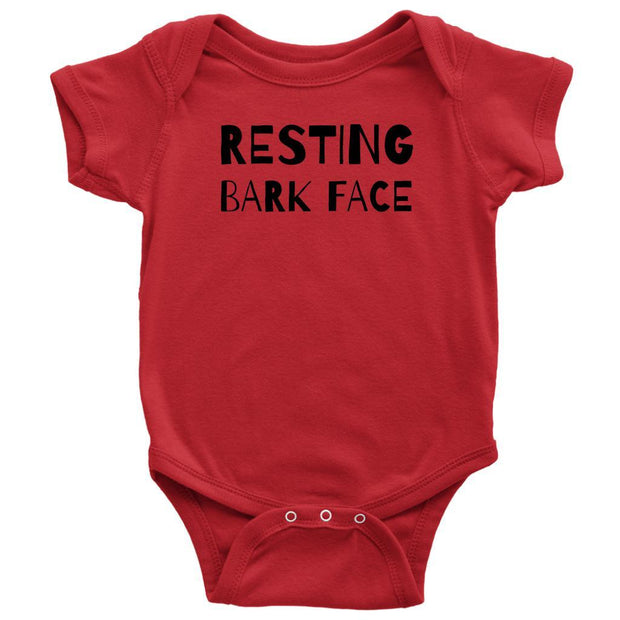 Resting Bark Face Baby Onesie-Red-Woofingtons