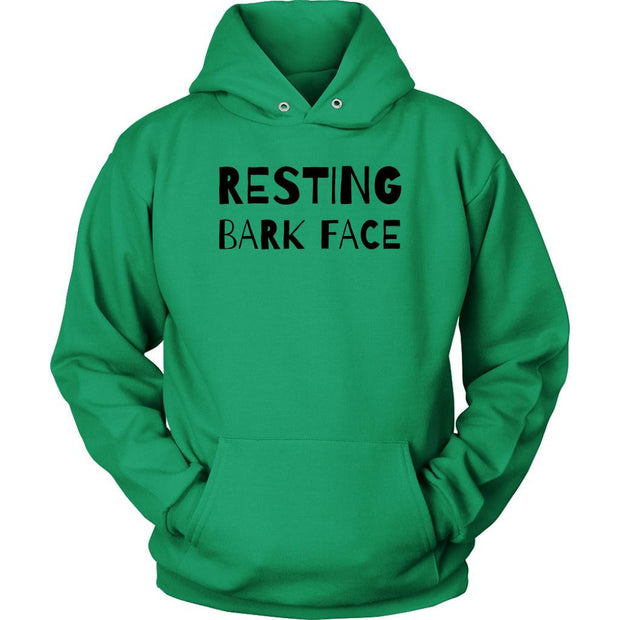 Resting Bark Face Unisex Hoodie-Kelly Green-Woofingtons
