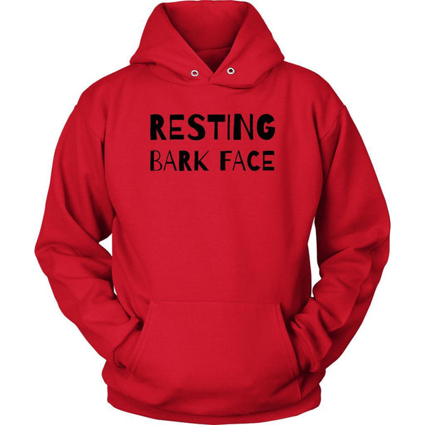 Resting Bark Face Unisex Hoodie-Red-Woofingtons