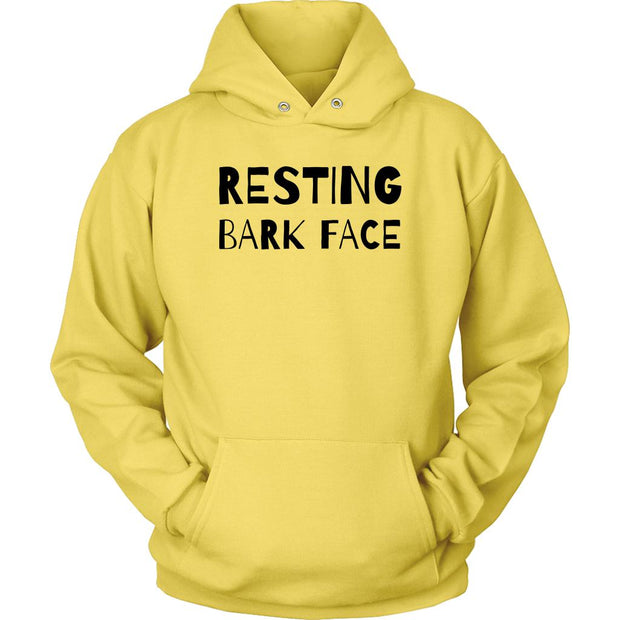 Resting Bark Face Unisex Hoodie-Yellow-Woofingtons