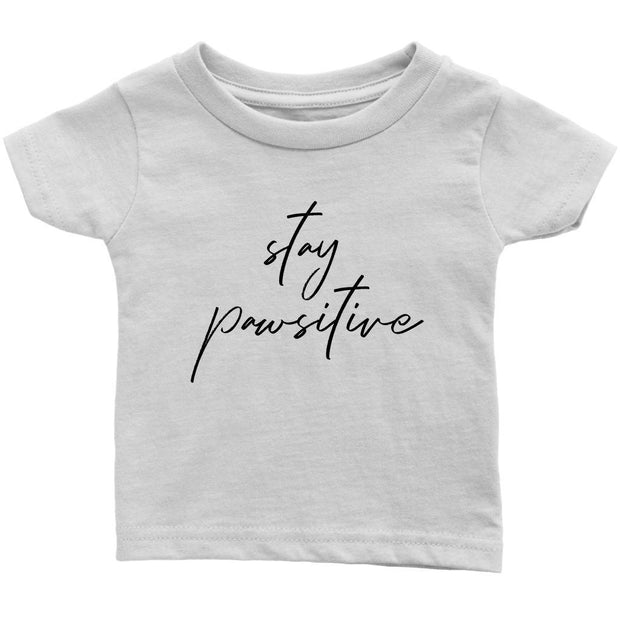 Stay Pawsitive Baby Tee-White-Woofingtons