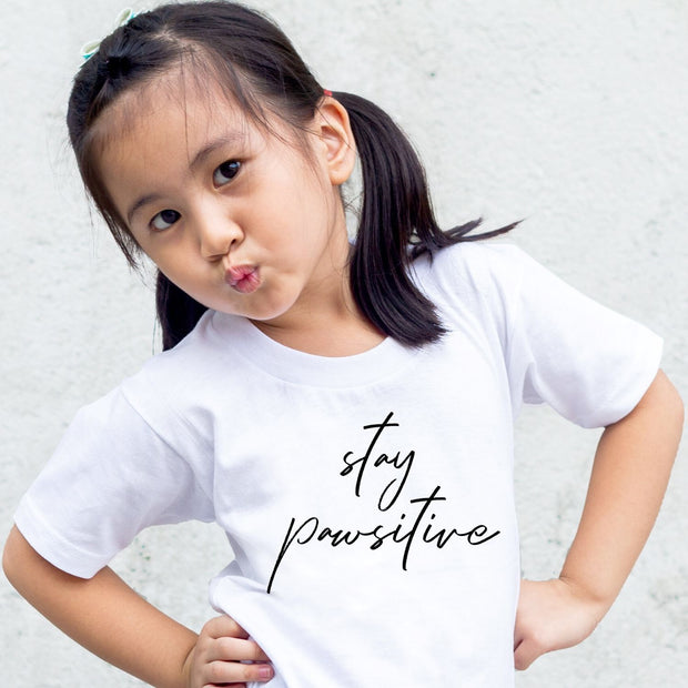 Stay Pawsitive Toddler Tee White Woofingtons