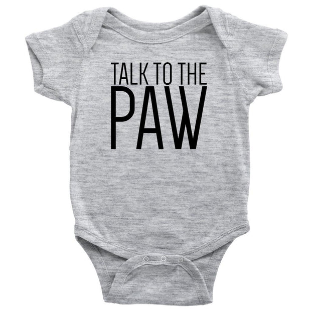 Talk To The Paw Baby Onesie-Heather Grey-Woofingtons