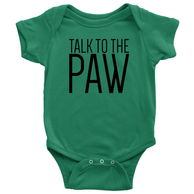 Talk To The Paw Baby Onesie-Kelly-Woofingtons