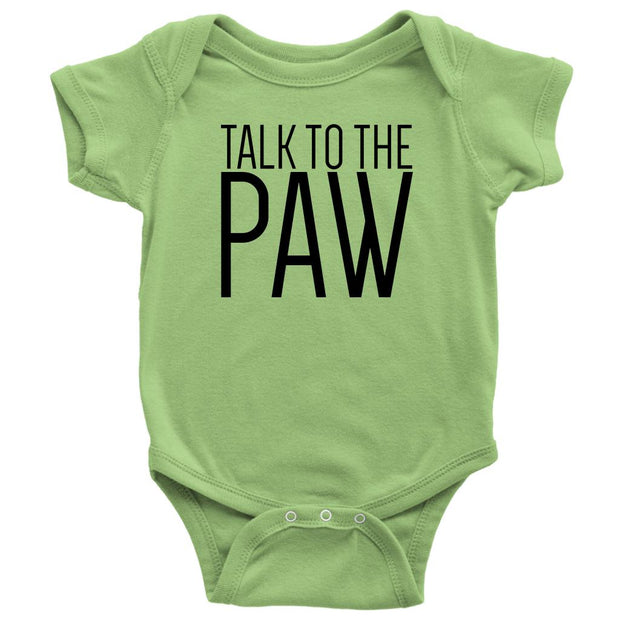 Talk To The Paw Baby Onesie-Keylime-Woofingtons