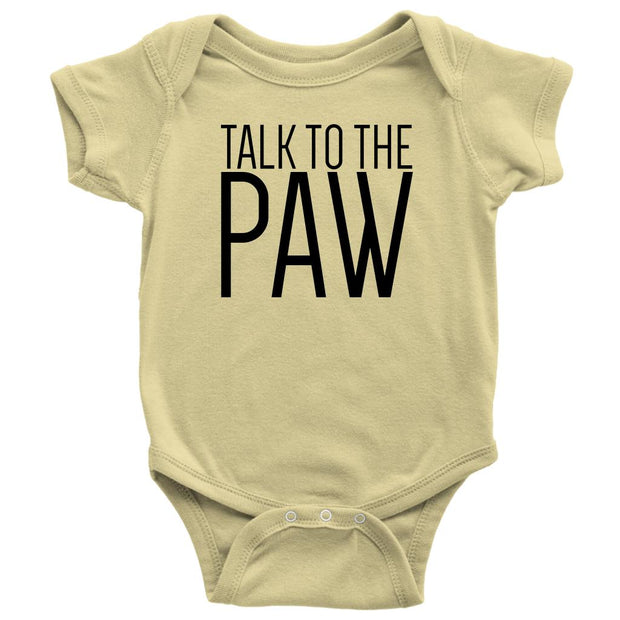 Talk To The Paw Baby Onesie-Lemon-Woofingtons