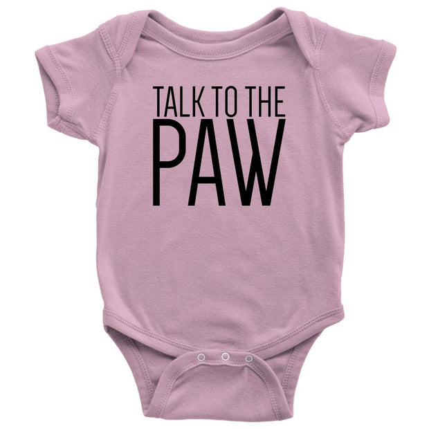 Talk To The Paw Baby Onesie-Pink-Woofingtons