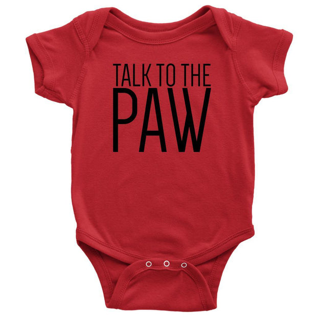 Talk To The Paw Baby Onesie-Red-Woofingtons