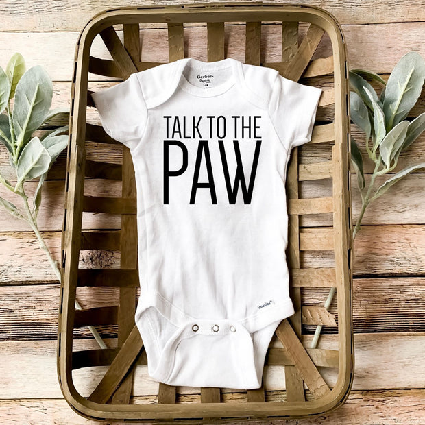 Talk To The Paw Baby Onesie White Woofingtons