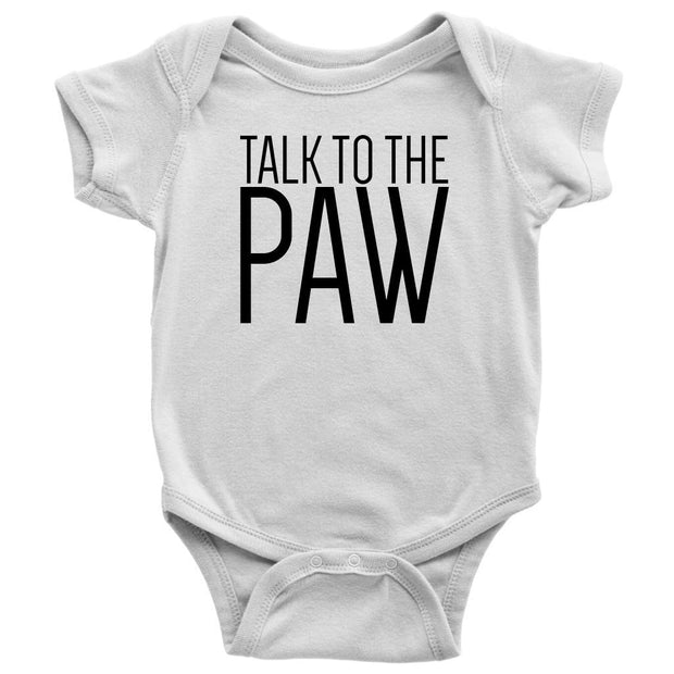 Talk To The Paw Baby Onesie-White-Woofingtons