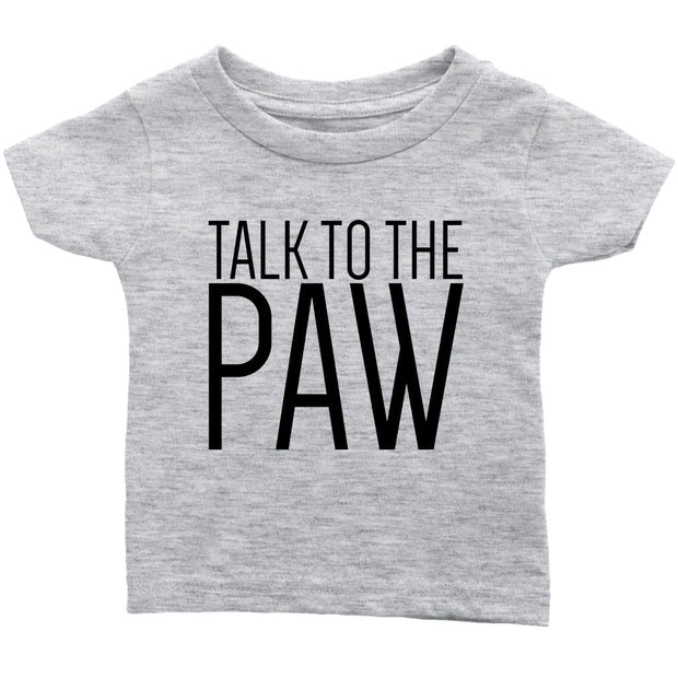 Talk To The Paw Baby Tee-Heather Grey-Woofingtons