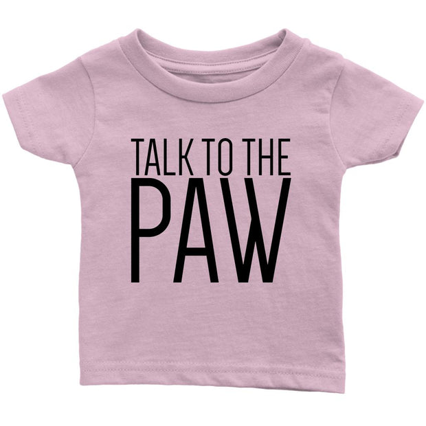 Talk To The Paw Baby Tee-Light Pink-Woofingtons