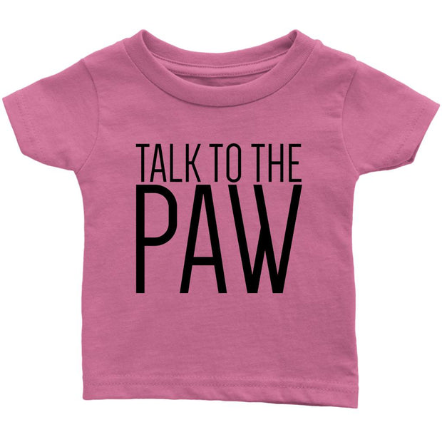 Talk To The Paw Baby Tee-Pink-Woofingtons