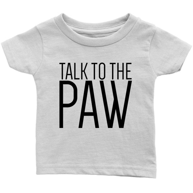 Talk To The Paw Baby Tee-White-Woofingtons