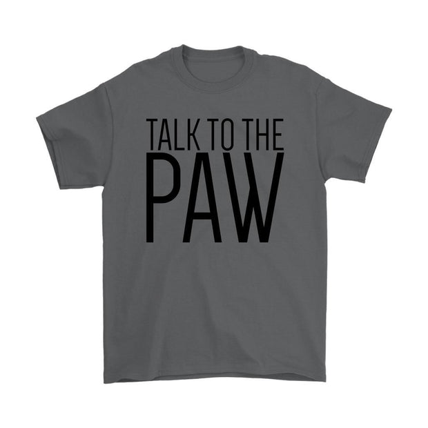 Talk To The Paw Mens Tee-Charcoal-Woofingtons