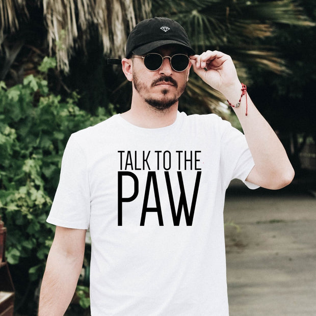 Talk To The Paw Mens Tee White Woofingtons