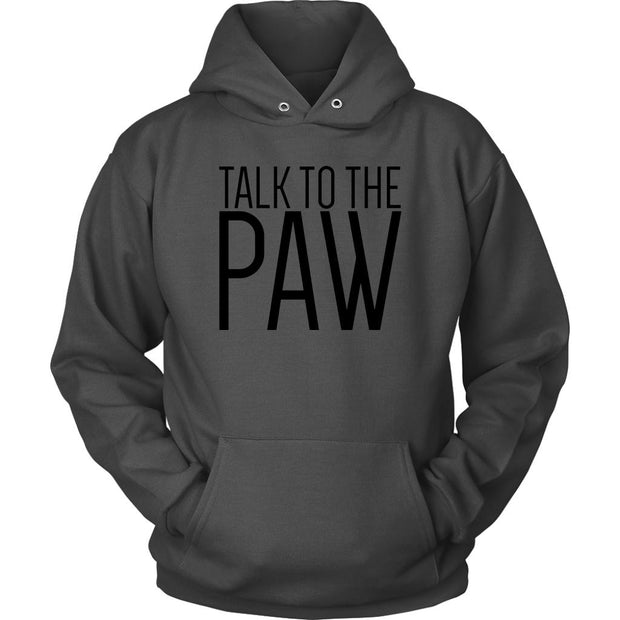 Talk To The Paw Unisex Hoodie-Charcoal-Woofingtons