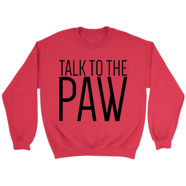 Talk To The Paw Unisex Sweatshirt-Red-Woofingtons