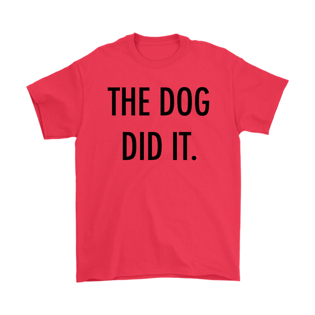 The Dog Did It Mens Tee-Red-Woofingtons