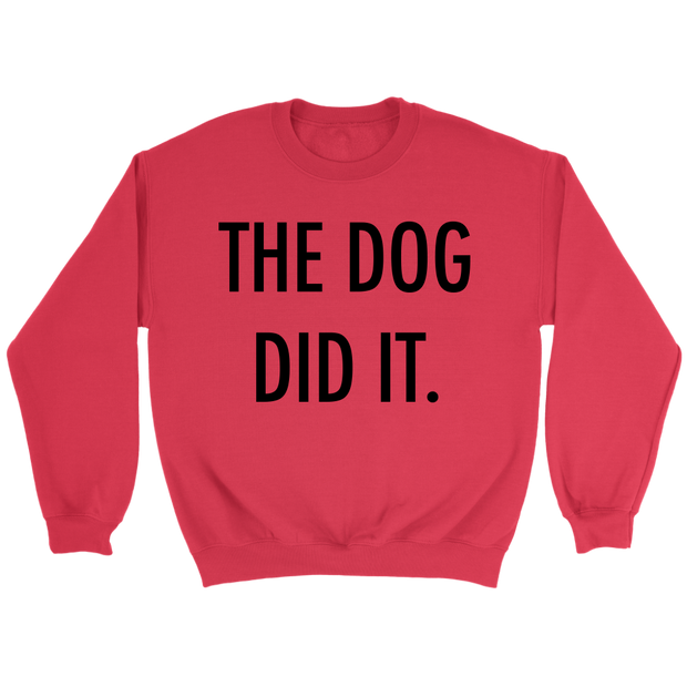 The Dog Did It Unisex Sweatshirt-Red-Woofingtons