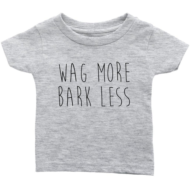 Wag More Bark Less Baby Tee-Heather Grey-Woofingtons