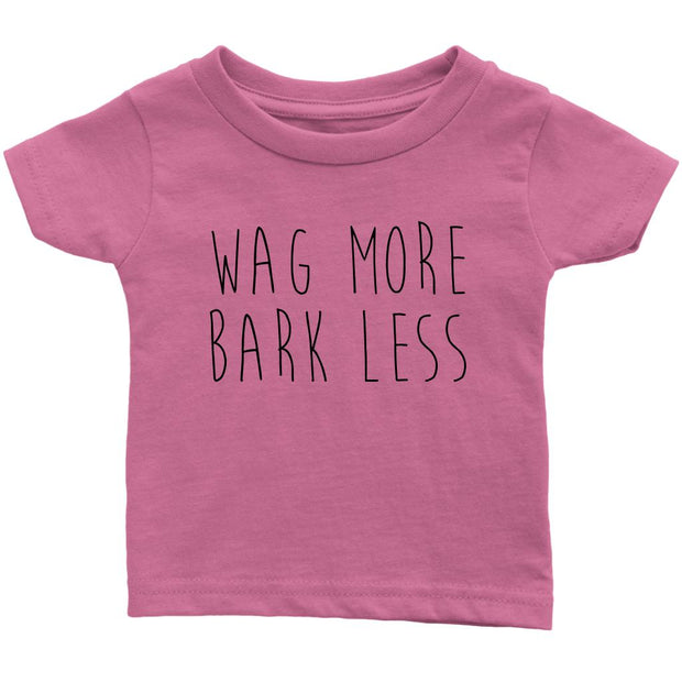 Wag More Bark Less Baby Tee-Pink-Woofingtons