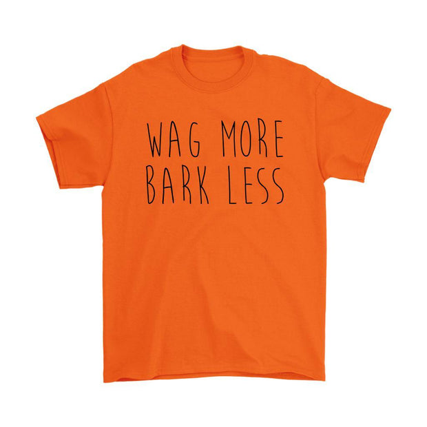 Wag More Bark Less Mens Tee-Orange-Woofingtons