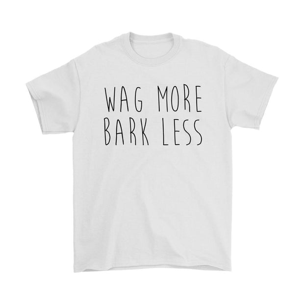 Wag More Bark Less Mens Tee-White-Woofingtons
