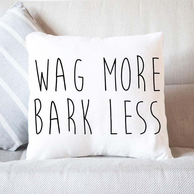 Wag More Bark Less Throw Pillow Stuffed & Sewn Woofingtons
