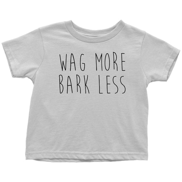 Wag More Bark Less Toddler Tee-White-Woofingtons